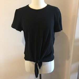 Madewell NWT short sleeved tied black shirt size M